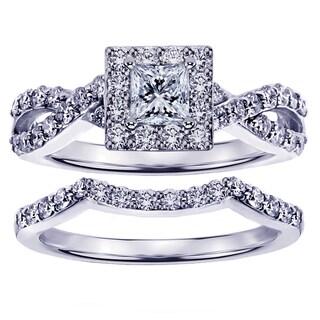 White Gold 1 1/6ct Braided Princess-cut Diamond Engagement Wedding Band Set
