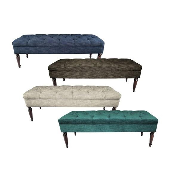 MJL Furniture Claudia Diamond Tuft Lucky Upholstered Long Bench