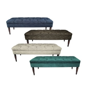 MJL Furniture Claudia Diamond Tuft Lucky Upholstered Long Bench