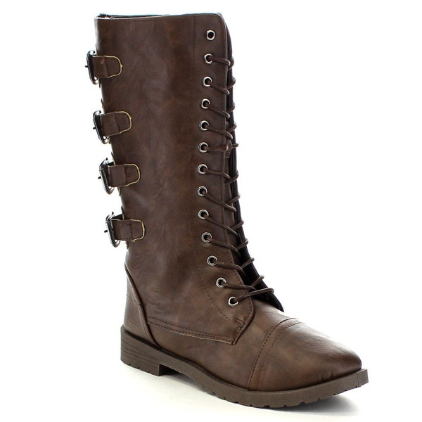 Blue Suede Shoes LYDI-5-H Women's Lace Up Combat Mid Calf Military Boots