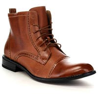men's crevo camden chestnut leather/herringbone  free