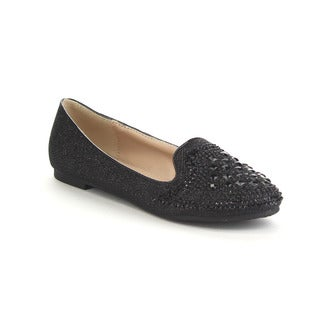 BELLA LUNA ROYALTY-01 Women's Basic Rhinestone Deco Glitter Slip On Ballet Flats