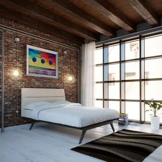 Addison Twin-Size Black/Beige Platform Bed
