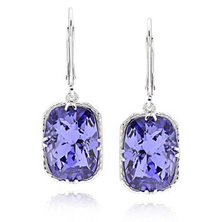 Sterling Silver Rectangle Cushion Genuine Austrian Crystal Elements Earrings (China)