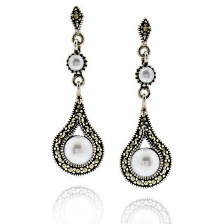 Sterling Silver Round Pearl and Marcasite Earrings (China)