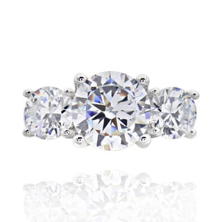 Sterling Silver 3-stone Cubic Zirconia Bridal Engagement Ring (China)