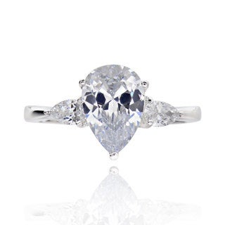 Sterling Silver 2ct TGW 3-stone Pear-cut Cubic Zirconia Bridal Engagement Ring (China)