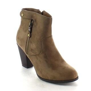 Beston BA18 Women's Side Zipper Stacked Chunky Heel Trendy Ankle Booties