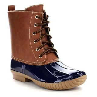 Beston BA14 Women's Two Tone Lace Up Combat Style Trendy Waterproof Duck Boots