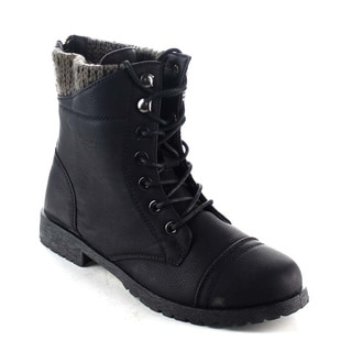 Beston BA12 Women's Knitting Top Lace-up Lug Sole Back Zip Mid Calf Combat Boots