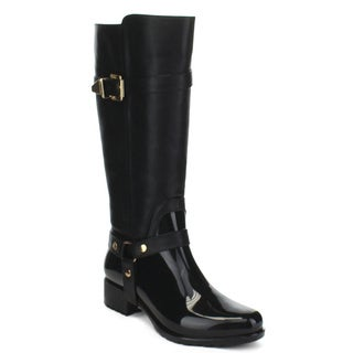 Beston Women's Two-Tone Buckle Knee-High Rain Riding Boots