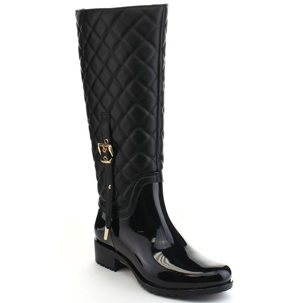 Beston CB11 Women's Quilted Two Tone Buckle Knee High Rain Boots ... : quilted rainboots - Adamdwight.com