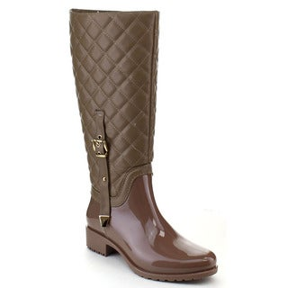 Beston CB11 Women's Quilted Two Tone Buckle Knee High Rain Boots