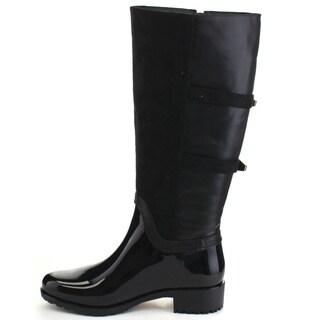 Beston CB10 Women's Two-tone Buckle Knee High Rain Boots