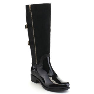 Beston CB10 Women's Two-tone Buckle Knee High Rain Boots