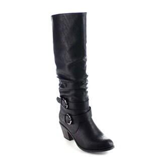 Beston BA19 Women's Buckle Strap Elastic Back Chunky Heel Knee High Riding Boots