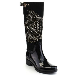 Beston CB09 Women's Two Tone Rhinestone Buckle Knee High Rain Boots