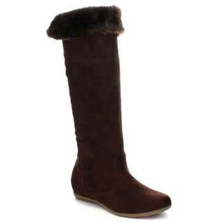Beston CB02 Women's Flat Fold Over Snug Fit Knee High Boots