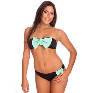 Dippin' Daisy's Women's Black and Mint Bandeau Bikini