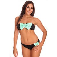 Women's Black and Mint Bandeau Bikini