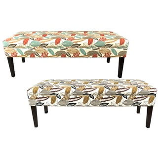 Kaya FloraFoliage-button Tufted Upholstered Long Bench