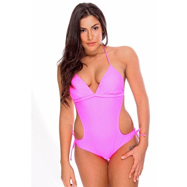 Dippin Daisy's Women's Solid Neon Pink Monokini