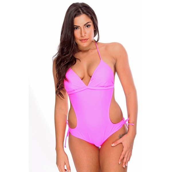 Women's Solid Neon Pink Monokini