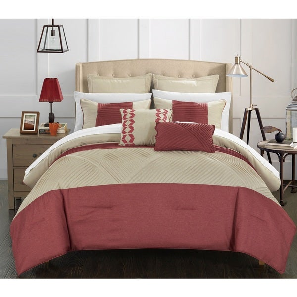 Chic Home Greta Taupe Faux Linen Oversized and Overfilled 11-piece Bed in a Bag Set