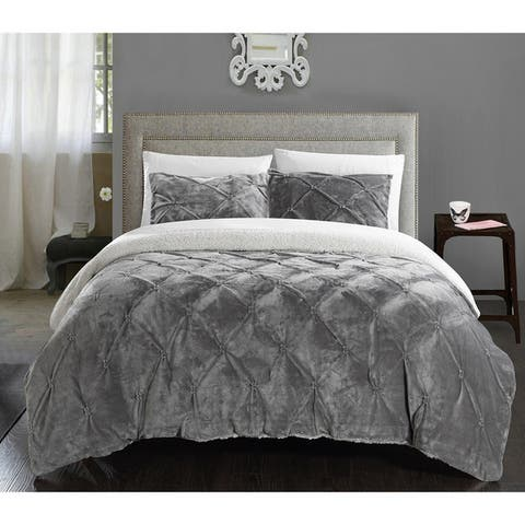 Gracewood Hollow Audet Sherpa Lined Grey 7-piece Bed in a Bag with Microfiber Sheet Set