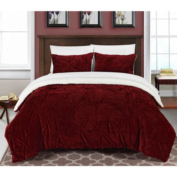 Chic Home Chiara Pinch Pleated Ruffled and Pintuck Sherpa-lined Burgundy 7-piece Bed In a Bag Set