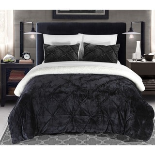 Chic Home Chiara Pinch Pleated Ruffled and Pintuck Sherpa Lined Black 7-Piece Bed In a Bag Set