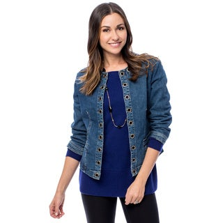 Women's Grommet Crew Neck Denim Jacket