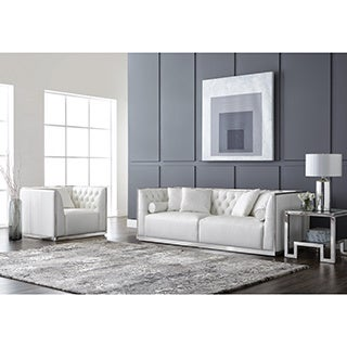 Sunpan 'Club' Maxime Stainless Steel and Leather Sofa