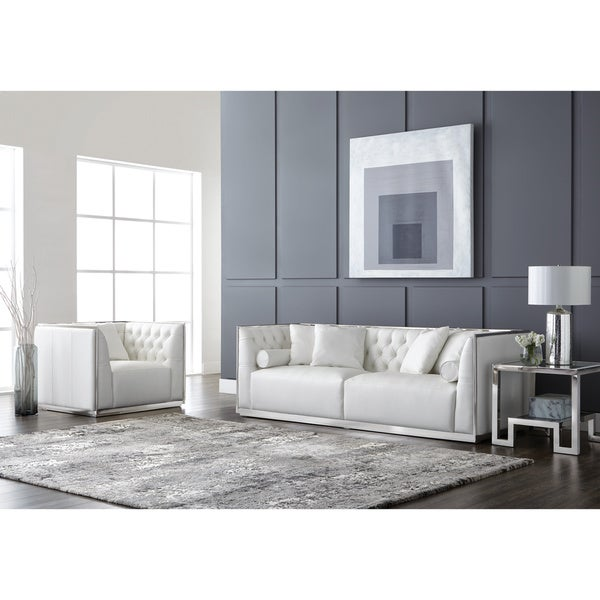 Shop Sunpan Club Maxime Stainless Steel And Leather Sofa