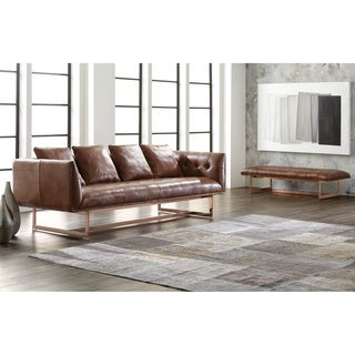 Sunpan 'Club' Matisse Rose Gold Leather Sofa with Pillows