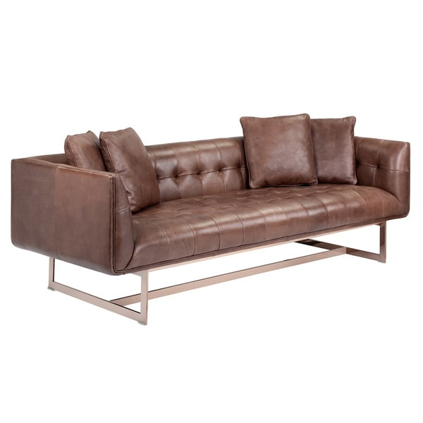 Leather Sofa Upholstery Liverpool: Leather Club Sofa Sunpan Club Matisse Rose Gold Leather