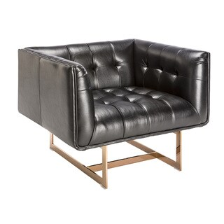 Sunpan 'Club' Matisse Rose Gold Frame/ Black Leather Arm Chair