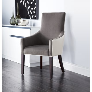 Sunpan '5West' Vincent Dove Grey Leather and Marble Fabric Arm Chair