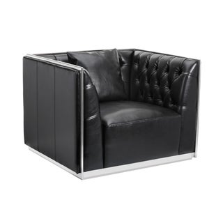 Sunpan 'Club' Maxime Armchair Stainless Steel in Leather