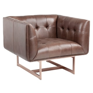 Sunpan 'Club' Matisse Leather Rose Gold Armchair