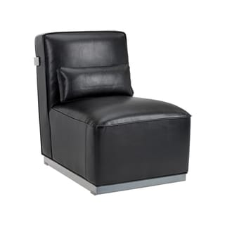 Sunpan 'Club' Stainless Steel and Leather T-back Frame Brosnan Chair