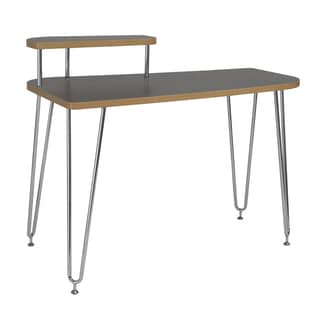 Euro Style Hanh Desk with Left Shelf Grey and Chrome