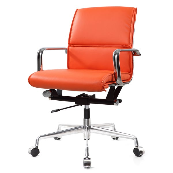 Shop M330 Vegan Leather Office Chair In Orange Free