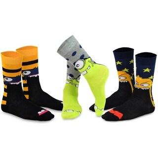 TeeHee Men's Cotton Crew Monster Socks 3-Pair Pack