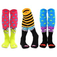 TeeHee Monster Socks Fun Socks 3-Pair Pack Cotton Knee High Socks for Junior and Women
