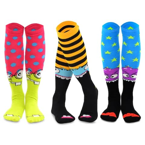 TeeHee Monster Socks 3-Pair Knee-High Junior & Women
