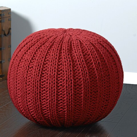 LR Home Sutton Hand-knitted Cable Cotton Pouf Ottoman