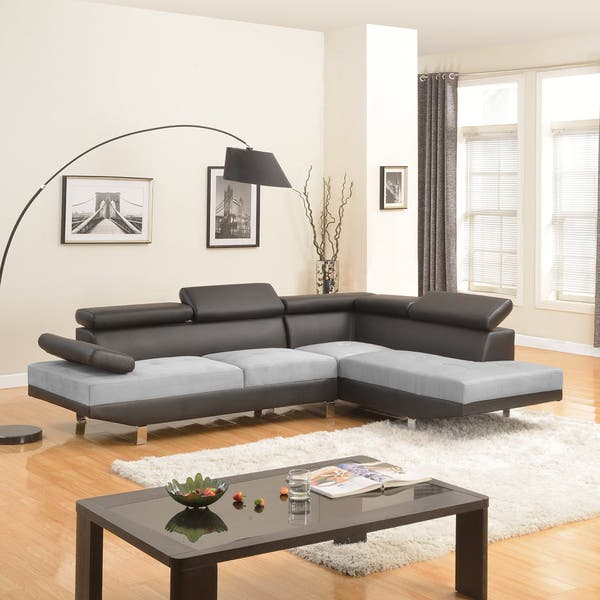 Sensational Modern Black Contemporary Two Tone Microfiber And Bonded Leather Sectional Sofa Gmtry Best Dining Table And Chair Ideas Images Gmtryco