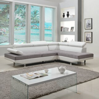 Modern White Contemporary Two Tone Microfiber and Bonded Leather Sectional Sofa