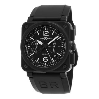 Bell & Ross Men's BR03-94 CERAMIC 'Aviation' Black Dial Black Rubber Strap Chronograph Swiss Automatic Watch